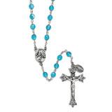 Aqua Czech Crystal Italian Made Rosary Silver-tone, MPN: GM13516, UPC: 886083322815
