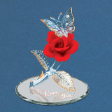 I Love You Red Rose with Butterfly Figurine Glass Baron, MPN: GM15114, UPC: 708873031250
