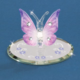 Lavender Butterfly with Crystals Figurine Glass Baron, MPN: GM15136, UPC: 708873022531