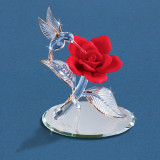 Hummingbird with Rose Red Figurine Glass Baron, MPN: GM15137, UPC: 708873015045