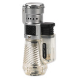 Vertigo Cyclone Clear and Brushed Chrome Triple Flame Torch Lighter, MPN: GM15409, UPC: 894236010243