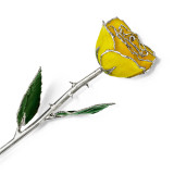 Lacquer Dipped Silver Trimmed Yellow Rose, MPN: GM16746, UPC: 812465021458