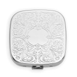 Square Scrolled 3-Section Pillbox with Mirror Silver-tone, MPN: GM16817, UPC: 788089136260