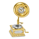 Gramophone Desk Clock Gold-tone, MPN: GM16858, UPC: 788089051037