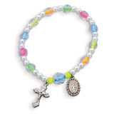 Children's Neon Color Bead Rosary Bracelet, MPN: GM17987, UPC: 827225456807