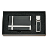 Black Silver-tone Carbon Fiber Card Case Money Clip Set, MPN: GM5140, UPC: 788089125790
