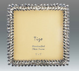 Tizo White Leaves 5 x 5 Inch Jeweltone Picture Frame