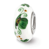 Green Irish Fenton Glass Bead Sterling Silver Hand Painted MPN: QRS3604 UPC: 19727643490 by Reflection Beads