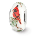 White Cardinal Fenton Glass Bead Sterling Silver Hand Painted MPN: QRS3654 UPC: 19727629098 by Reflection Beads