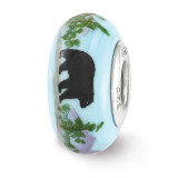 Mountain Bear Fenton Glass Bead Sterling Silver Hand Painted MPN: QRS3657 UPC: 19727646248 by Reflection Beads