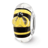 Yellow and Black Bumblebee Fenton Glass Bead Sterling Silver MPN: QRS3660 UPC: 19727640628 by Reflection Beads