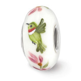Hummingbird Fenton Glass Bead Sterling Silver Hand Painted MPN: QRS3662 UPC: 19727632203 by Reflection Beads