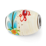 Sea Life Catchn A Wave Fenton Glass Bead Sterling Silver MPN: QRS3702 UPC: 19727656629 by Reflection Beads