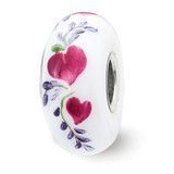 How Do I LoveThee Fenton Glass Bead Sterling Silver Hand Painted MPN: QRS3860 UPC: 19727657657 by Reflection Beads