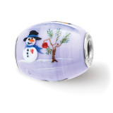 Snow Buddies Large Fenton Glass Bead Sterling Silver Hand Painted MPN: QRS3889 UPC: 19727658746 by Reflection Beads