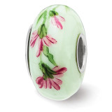 Carnation January Fenton Glass Bead Sterling Silver Hand Painted MPN: QRS3913JAN UPC: 19727659194 by Reflection Beads