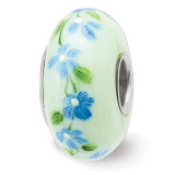 Larkspurs July Fenton Glass Bead Sterling Silver Hand Painted MPN: QRS3913JUL UPC: 19727659255 by Reflection Beads