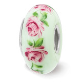Roses June Fenton Glass Bead Sterling Silver Hand Painted MPN: QRS3913JUN UPC: 19727659248 by Reflection Beads