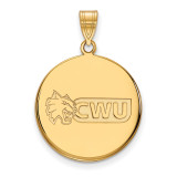 Central Washington University Large Disc Penda in Gold-plated Sterling Silver MPN: GP001CWU UPC: 883957247960