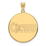 Central Washington University x-Large Disc Pendant in Gold-plated Sterling Silver MPN: GP002CWU UPC: 883957247977