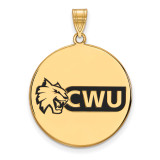 Central Washington U x-Large Enamel Disc Pendant in Gold-plated Sterling Silver MPN: GP003CWU UPC: 883957247984
