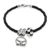 Leather Bracelet One Crossed Flag Bead 48 Bead Steering in Sterling Silver MPN: NASBS00848 UPC: 810680023349