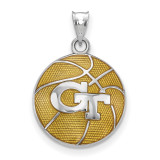 Georgia Institute of Technology Enameled Basketball Pendant in Sterling Silver MPN: SS509GT UPC: 634401432384