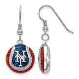 New York Mets Enameled Baseball Dangle Earrings in Sterling Silver MPN: SS521MET UPC: 634401357137
