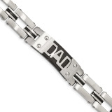 Black IP-plated DAD 9 inch Bracelet Stainless Steel Brushed and Polished SRB1837-9 by Chisel