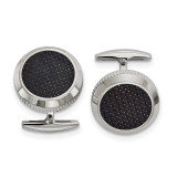 Black Carbon Fiber Inlay Cufflinks Stainless Steel Polished, MPN: SRC375 by Chisel Jewelry