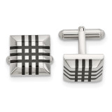 Black Rubber Cufflinks Stainless Steel Polished, MPN: SRC378 by Chisel Jewelry