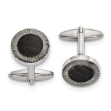 Black Carbon Fiber Inlay Cufflinks Stainless Steel Polished, MPN: SRC386, UPC: 191101853975 by Chisel Jewelry