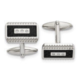 Black Carbon Fiber Inlay with Diamond CZ Cufflinks Stainless Steel Polished, MPN: SRC387, UPC: 191101853968 by Chisel Jewelry