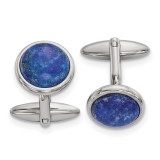 Lapis Cufflinks Stainless Steel Polished, MPN: SRC389, UPC: 191101854156 by Chisel Jewelry