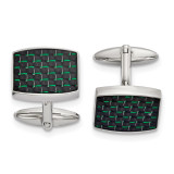 Black and Green Carbon Fiber Inlay Cufflinks Stainless Steel Polished, MPN: SRC391, UPC: 191101853937 by Chisel Jewelry