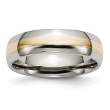 Inlay 6mm Polished Band Titanium 14k Yellow Gold, MPN: TB18_CH, UPC: 883957790077 by Chisel Jewelry