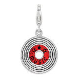MUSIC Record Charm Sterling Silver Enameled by Amore La Vita MPN: QCC1204