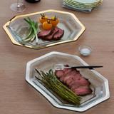 Annieglass Roman Antique Large Steak Platter Platinum MPN: P231