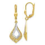 White Rhodium Diamond-cut Leverback Earrings 10k Gold by Leslie's Jewelry MPN: 10LE274, UPC: 191101557958
