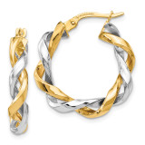 Hoop Earrings 14k Two-tone Gold by Leslie's Jewelry MPN: LE1670, UPC: 191101761089
