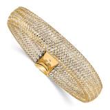Mesh Stretch Bracelet 14k Two-tone Gold Polished by Leslie's Jewelry MPN: LF1123