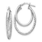 Diamond-cut Oval Hoop Earrings Sterling Silver Polished by Leslie's Jewelry MPN: QLE981, UPC: 191101643767