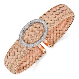 CZ Rose Gold-plated Woven Flexible Cuff Sterling Silver by Leslie's Jewelry MPN: QLF485, UPC: 191101470462
