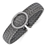 CZ Black Woven Flexible Cuff Sterling Silver by Leslie's Jewelry MPN: QLF486, UPC: 886774962627