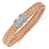 CZ Woven Flexible Cuff Sterling Silver Rose Gold-plated by Leslie's Jewelry MPN: QLF494, UPC: 191101468667