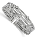 CZ Woven Flexible Cuff Bangle Sterling Silver Rhodium-plated by Leslie's Jewelry MPN: QLF565, UPC: 886774614151