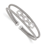 CZ Flexible Cuff Bangle Sterling Silver by Leslie's Jewelry MPN: QLF721, UPC: 191101176289