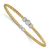 CZ Woven Cuff Bangle Sterling Silver Gold-tone by Leslie's Jewelry MPN: QLF826