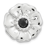 Black Sapphire Flower Chain Slide Sterling Silver Small MPN: QSK1684 UPC: 886774640037 by Stackable Expressions