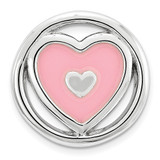 Pink Enameled Heart Chain Slide Sterling Silver Small MPN: QSK1686 UPC: 886774640051 by Stackable Expressions